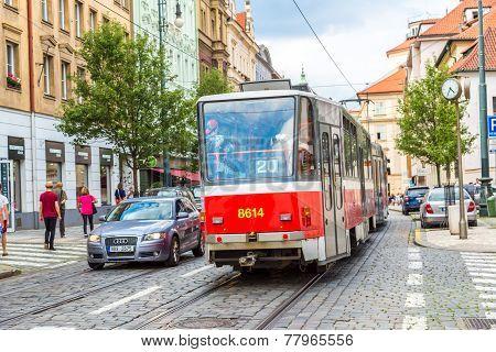 Prague Red Tram Detail, Czech Republic