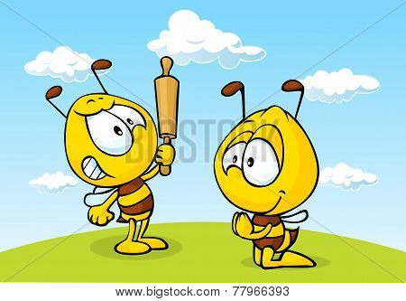 angry bee on grass - funny illustration vector