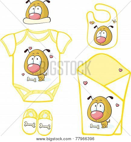 Cute Baby Layette with puppy and butterfly - vector illustration