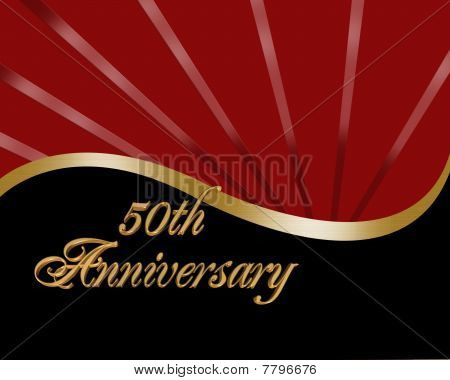 50th Anniversary invitation red and black