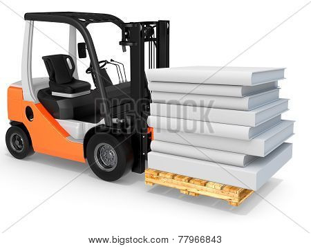 3D Forklift With Pallet And Stack Of Books