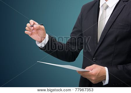 Businessman Standing Posture Hand Hold A Pen Isolated