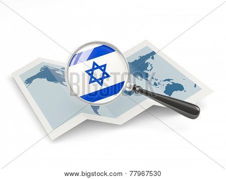 Magnified Flag Of Israel With Map