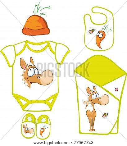 Cute Baby Layette With Cute Horse And Carrot - Vector Illustration