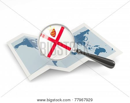 Magnified Flag Of Jersey With Map