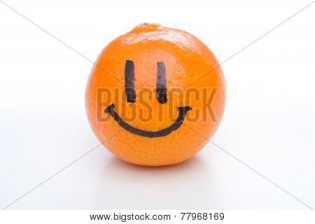 Smiling Orange Mandarin Or Tangerine Fruit