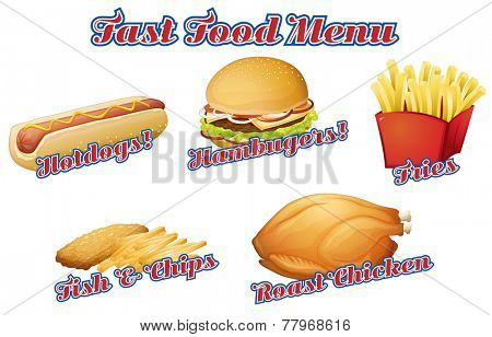 Flashcard of fast food menu