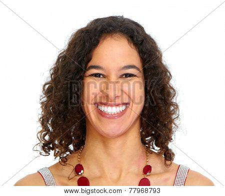 Beautiful hispanic woman face isolated on white background