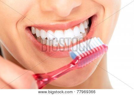 Beautiful young woman smile. Dental health background.