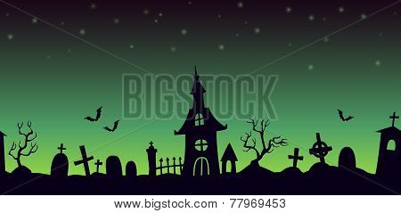 Night cartoon cemetery landscape