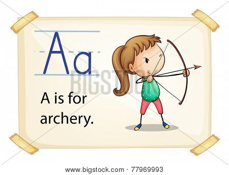 Illustration of letter A is for archery