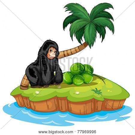 A gorilla in the island on a white background