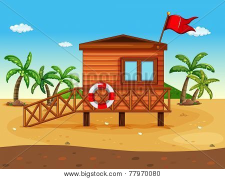 A lifeguard's house at the seashore