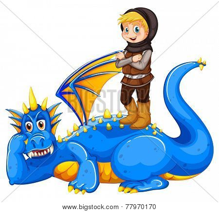 A boy taming the dragon on a white background