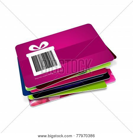 Discount Vouchers With Bar Code Isolated Over White