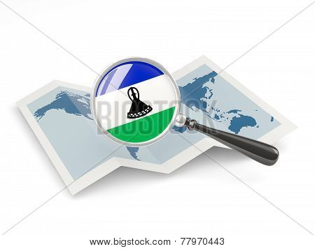 Magnified Flag Of Lesotho With Map