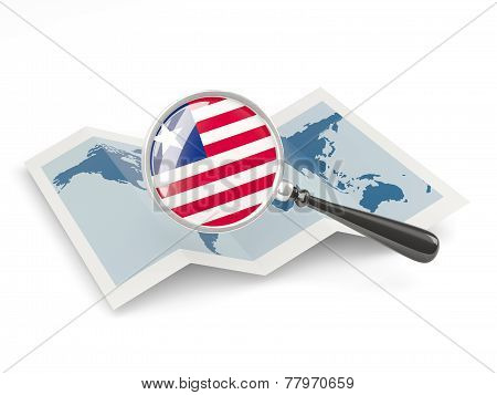 Magnified Flag Of Liberia With Map