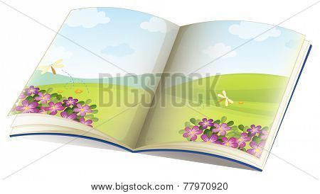 Illustration of a single storybook with pictures