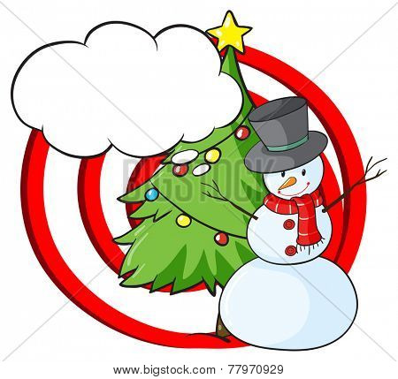 A snowman with an empty callout on a white background