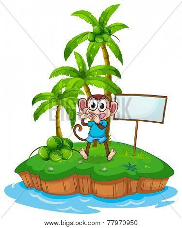 A happy monkey in the island with an empty signboard on a white background