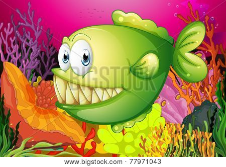 A green piranha under the sea