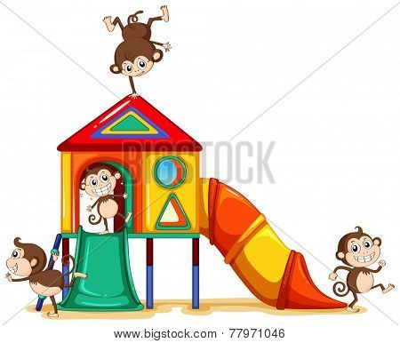 Monkeys playing at the playground on a white background