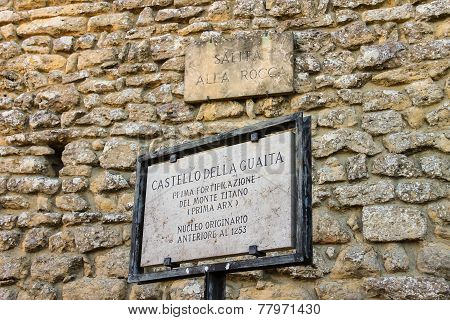 Memorable Plaque Near The Castle In San Marino. The Republic Of San Marino