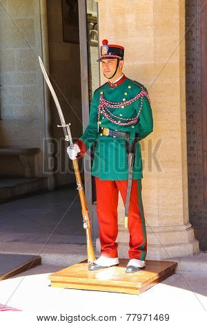 Guardsman In Colorful Uniforms On A Post Near The Palazzo Pubblicco  In San Marino.