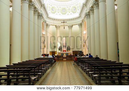 Worshipers Inside The Basilica Of San Marino. The Republic Of San Marino