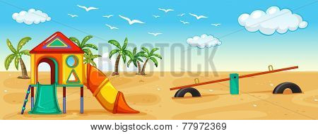 Illustration of a playground on the beach
