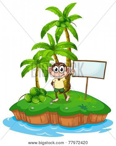 An island with a monkey and a signboard on a white background