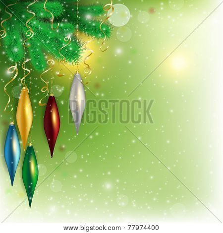 Hanging Colored Toys On The Twig With Flying Snow On Green