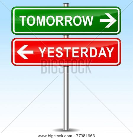 Tomorrow And Yesterday Directions Sign