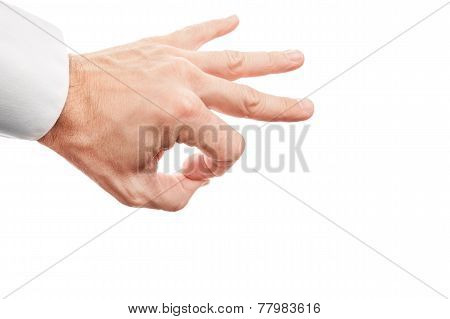 Hand Preparing Flick With His Index Finger Isolated On White