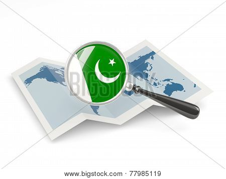 Magnified Flag Of Pakistan With Map