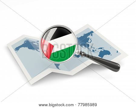 Magnified Flag Of Palestinian Territory With Map
