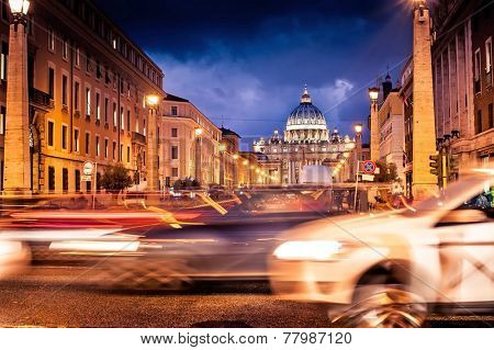 Night shot of St. Peter's Basilica  in Rome with road