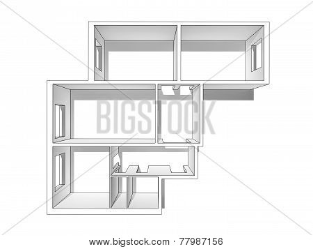 The Layout Of The Apartment. Isolated On A White Background.