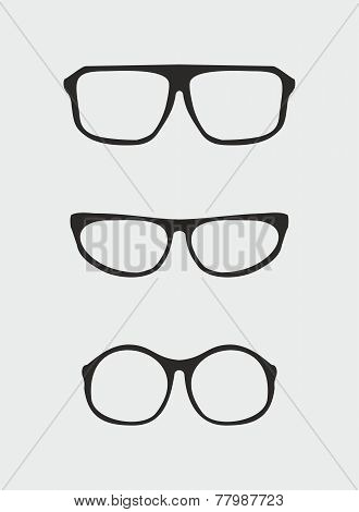 Glasses vector set with black holder retro hipster object isolated on grey background