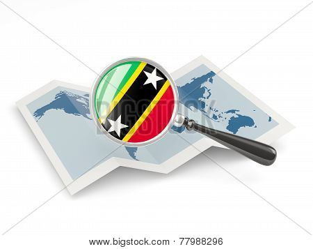 Magnified Flag Of Saint Kitts And Nevis With Map