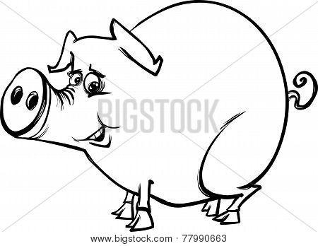 Farm Pig Cartoon Coloring Page