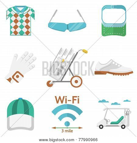 Flat vector colored icons for golf