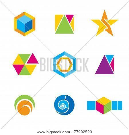 Set of geometrical logos