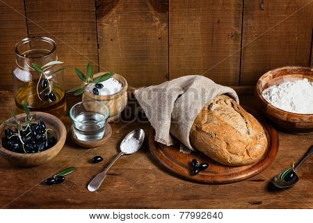 Ingredients For Making Bread With Olives