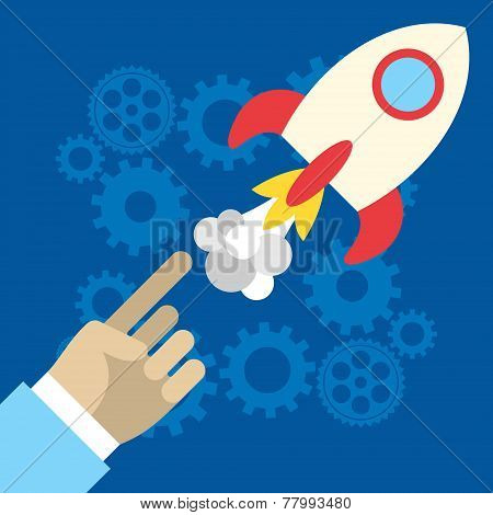 Flat Rocket Icon. Startup Concept. Project Development. Application Icons
