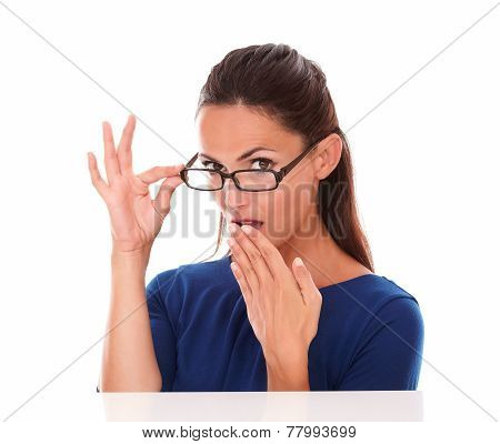 Shy Girl Looking Embarrassed With Hand On Mouth