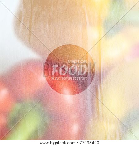 food background of red and yellow peppers with old wrinkled paper texture