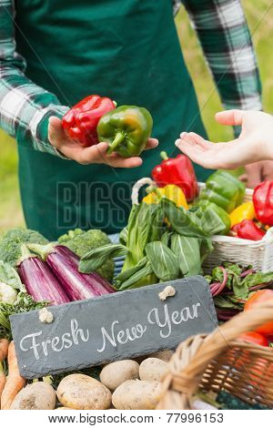 Fresh New Year against fresh vegetables at farmers market