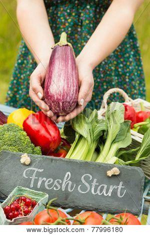 Fresh start against hands holding an aubergine