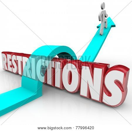 Restrictions 3d word and arrow jumping over it with a person or man avoiding or overcoming limitations, rules, regulations or laws